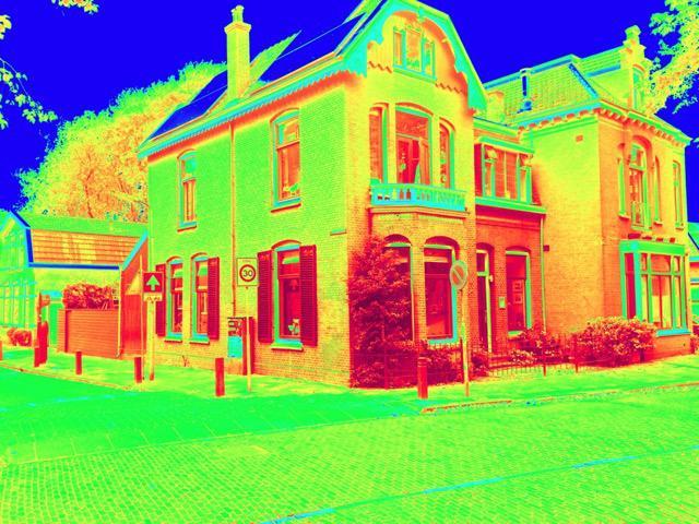 Huis met infrarood-kleuren